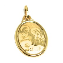 Pendant Medal Yellow Gold 750 18K, Sacred Family, Mary Jane Joseph Jesus image 2
