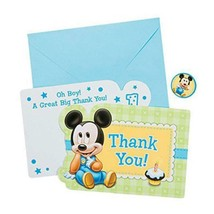 Mickey Mouse 1st Birthday Thank You Cards w/Seals 8 Per Package Party Su... - $7.87