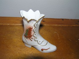 Vintage Japan Small White Porcelain Victorian Lady Shoe with Painted Fal... - $8.59