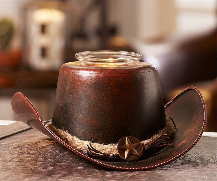 Metal Cowboy Hat Design Tealight Candle Holder New- Home Decor