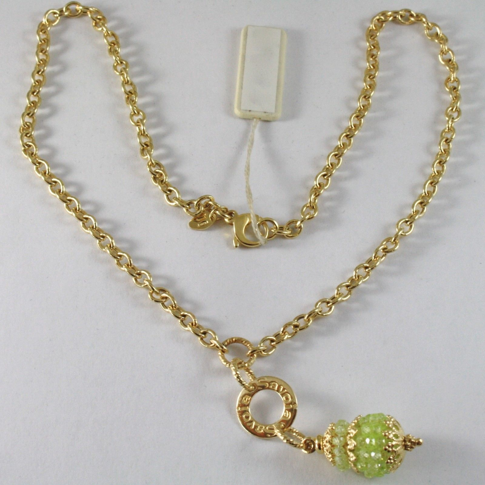 SILVER 925 NECKLACE YELLOW GOLD PLATED WITH HANGING CHARM MILLED AND PERIDOT