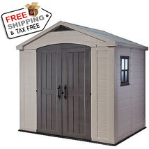 Keter Factor Large 8 x 6 ft. Resin Outdoor Backyard Garden Storage Shed ... - $1,840.77
