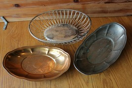 3 Bread basket Bowls Lot Wire EL Germany Silverplated Vintage and copper... - $59.40