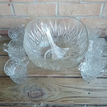 Vtg Crystal Pressed Glass Punch Bowl 11 x 6 1/2 Set w/12 cups - $65.68