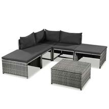 vidaXL 6 Piece Garden Lounge Set with Cushions Poly Rattan Gray Outdoor ... - $246.99