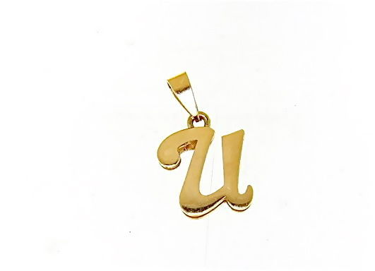 18K YELLOW GOLD LUSTER PENDANT WITH INITIAL U LETTER U MADE IN ITALY 0.71 INCHES