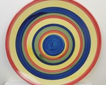 Set of 2 Swirl Design Multi Colored Hand-Painted Salad Plate Stonemite