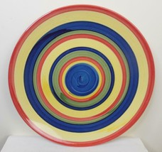 Set of 2 Swirl Design Multi Colored Hand-Painted Salad Plate Stonemite - $14.85