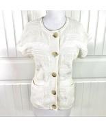 MICHAEL Michael Kors Women's Cream Cap Sleeve Knit Sweater Cardigan Size... - $19.79