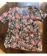PIPHANY XL Merci Tie Top Floral pink black Honey and Lace NEW with tags - $23.38
