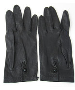Italian Black Leather Gloves For Macys Glass Button 1960s Italy Soft Kid... - $48.00