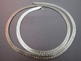 "Sterling Silver Chain Necklace NR Italy Flat Textured 24"" Long 26 Grams 5mm Wide - $29.69"