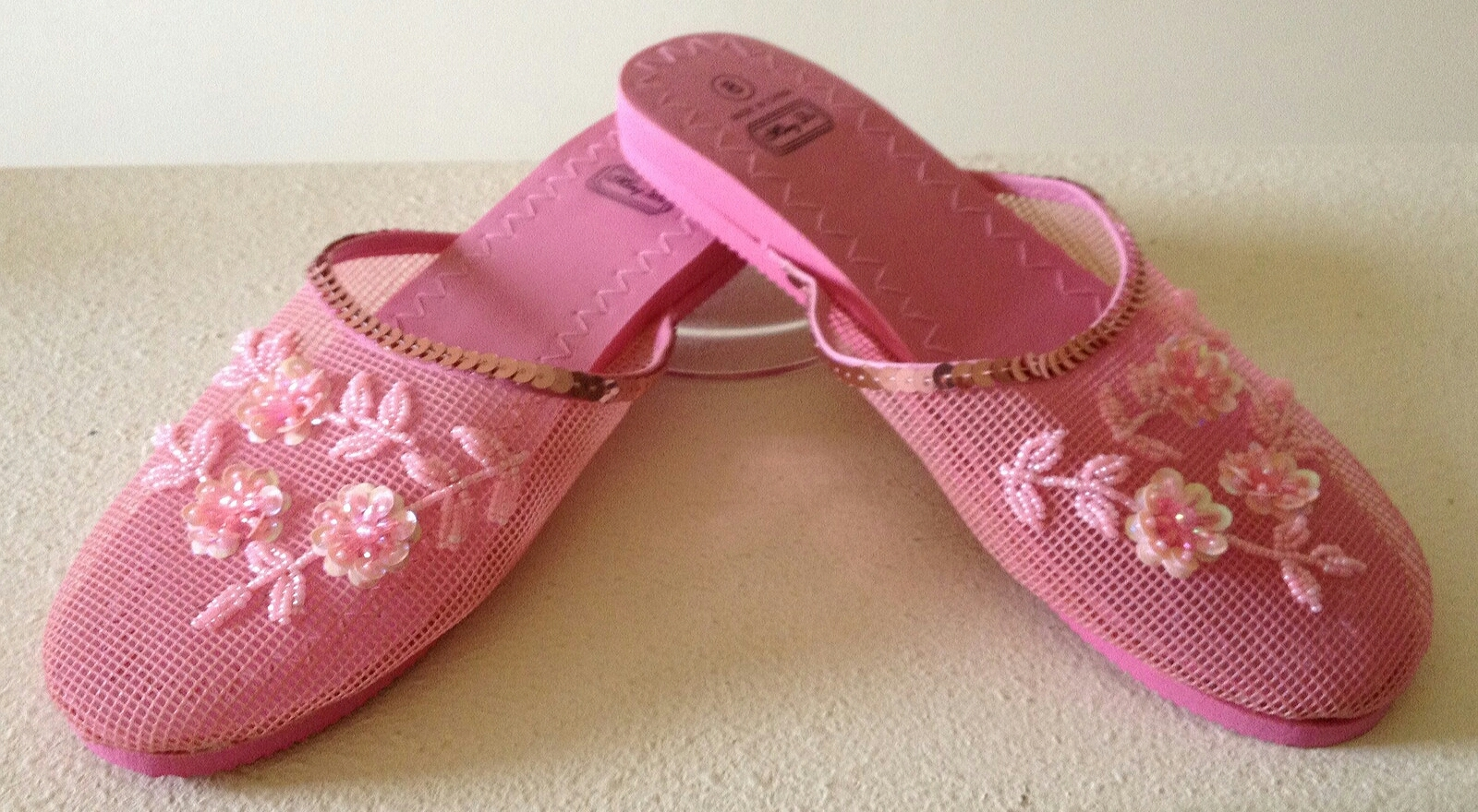 Bubble Gum Pink Floral Beaded Mesh Slippers 8