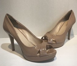 Nine West Womens Size 7.5 Nude Peeptoe Heels - $18.69