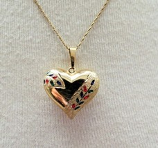 """14k Yellow Gold Heart PuffPendant Necklace 3.73g 19.5"""" Enamel Color Acce... - $158.39"""
