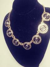 Vintage Silver Tone with Black and Clear Rhinestone Chain Necklace - $18.00