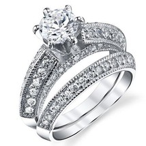 Sterling Silver Milgrain 2-Pc Bridal Promise Engagement Wedding Ring Ban... - $399.99