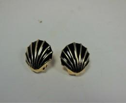 Vintage Monet Gold Tone & Black Enamel Clam Shell Clip on Earrings - $8.90