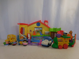 Fisher Price Little People Place Musical Preschool Playset + Train + Bus... - $38.63