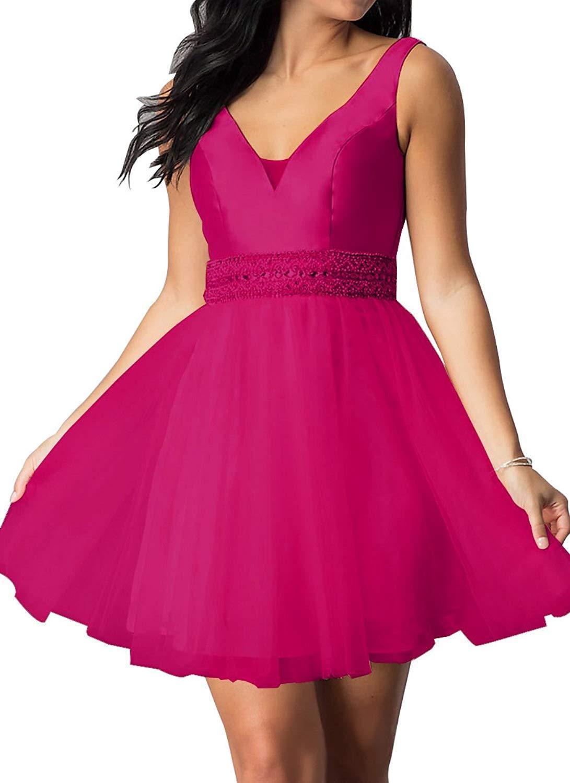Homecoming Dress V Neck Beaded 2018 Tulle Short A-line Formal Prom Evening Dress - $102.99