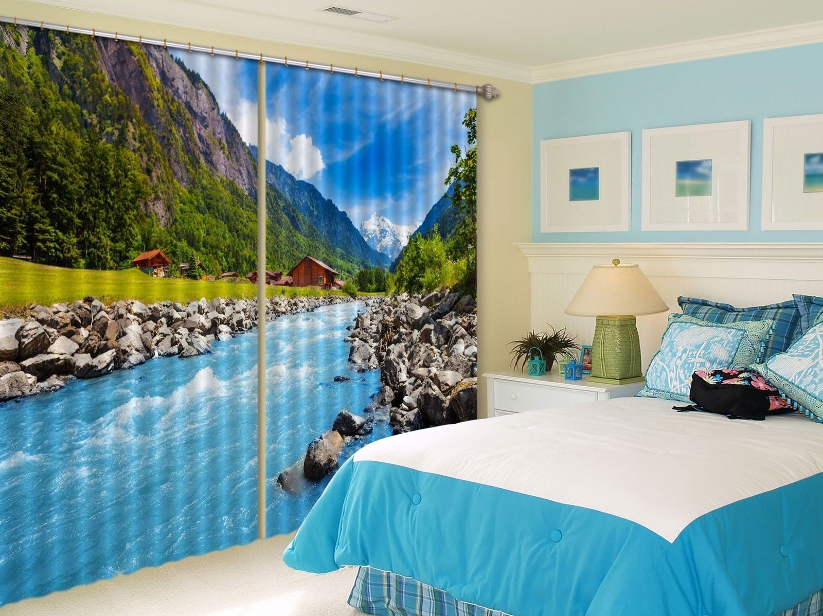 Primary image for 3D River View Mount 101 Blockout Photo Curtain Print Curtains Drapes US Lemon
