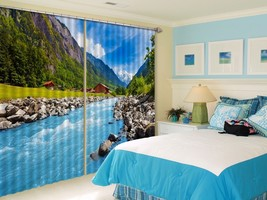 3D River View Mount 101 Blockout Photo Curtain Print Curtains Drapes US ... - $177.64+