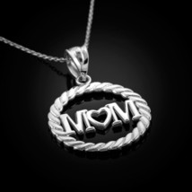 """Sterling Silver """"Mom"""" Heart in Circle Rope Pendant Necklace - €18,02 EUR+"""