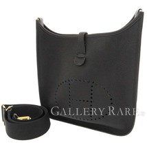 HERMES Evelyne 3 PM Taurillon Clemence Black Shoulder Bag France #D Authentic - $3,409.69
