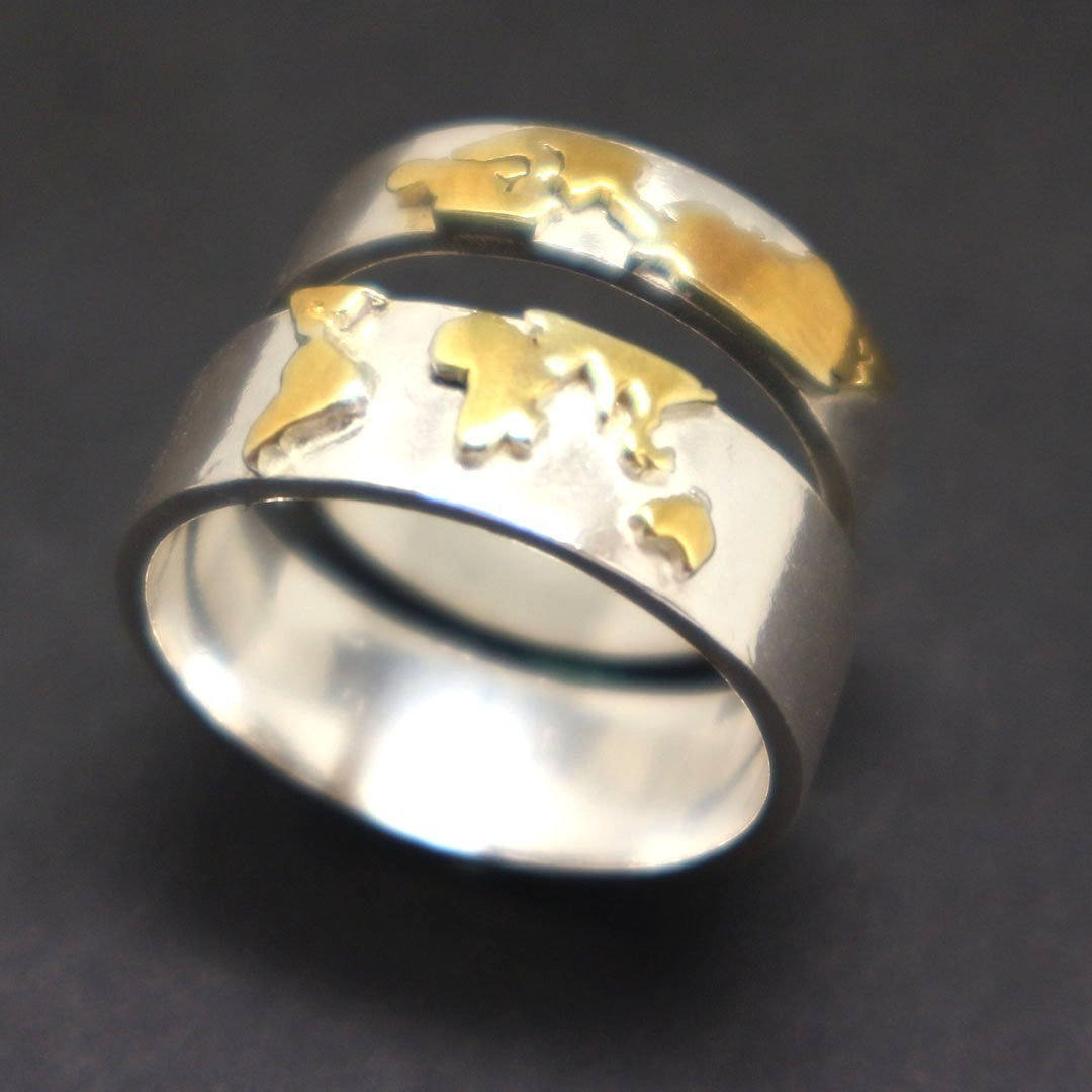 Gold Over Silver World Map Ring image 5