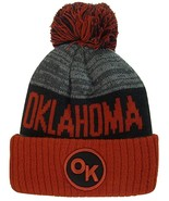 Oklahoma OK Patch Ribbed Cuff Knit Winter Hat Pom Beanie (Burgundy/Black... - $11.95