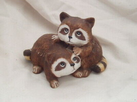 Homco Porcelain Baby Racoon Pair 1454 Home Interiors - $6.99