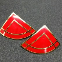 Avon Vintage 80s Red Gold Enamel Earrings Triangle (AD326) - $10.30