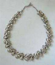 Vintage Trifari Collar Necklace Leaves Silver tone Textured Mistletoe - $39.59