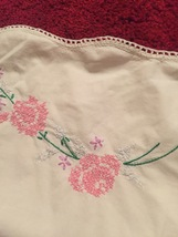 One Antique embroidered floral pillowcase with crocheted edge image 3