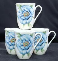 Lenox Butterfly Meadow Blue * 4 MUGS / CUPS * Butterflies, Flowers, MINT! - $32.66