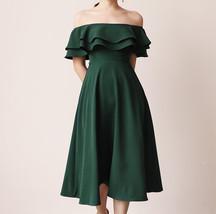 Women Off Shoulder Chiffon Midi Cocktail Dress, Burgundy Dark Green Blush White image 4