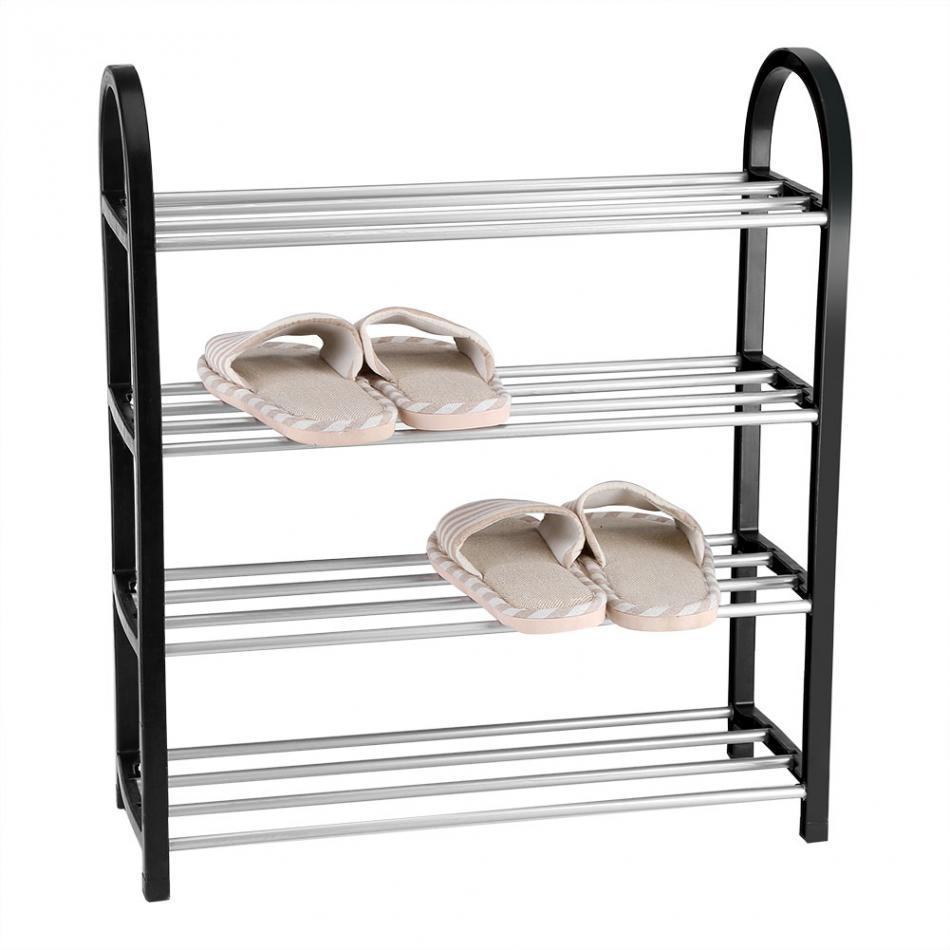 Shoe Rack Organizer Aluminum Plastic 3-4 Layers Storage Shelf Home Pairs Stand