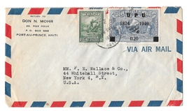 1951 Haiti Airmail Cover to US New York Scott 374 388 UPU .20 c Overprint - $7.99