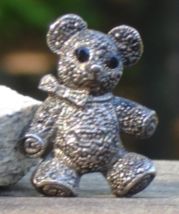 Vintage Faux Marcasite Teddy Bear Pin Brooch - $20.00