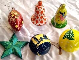 6 pc Christmas tree decoration ornaments paper mache balls bells heart star - $48.75