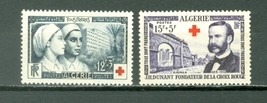 1954 Red Cross Set of 2 Algeria Postage Stamps Catalog Number B74-75 Mint Hinged