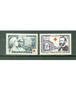 1954 Red Cross Set of 2 Algeria Postage Stamps Catalog Number B74-75 Min... - $5.95