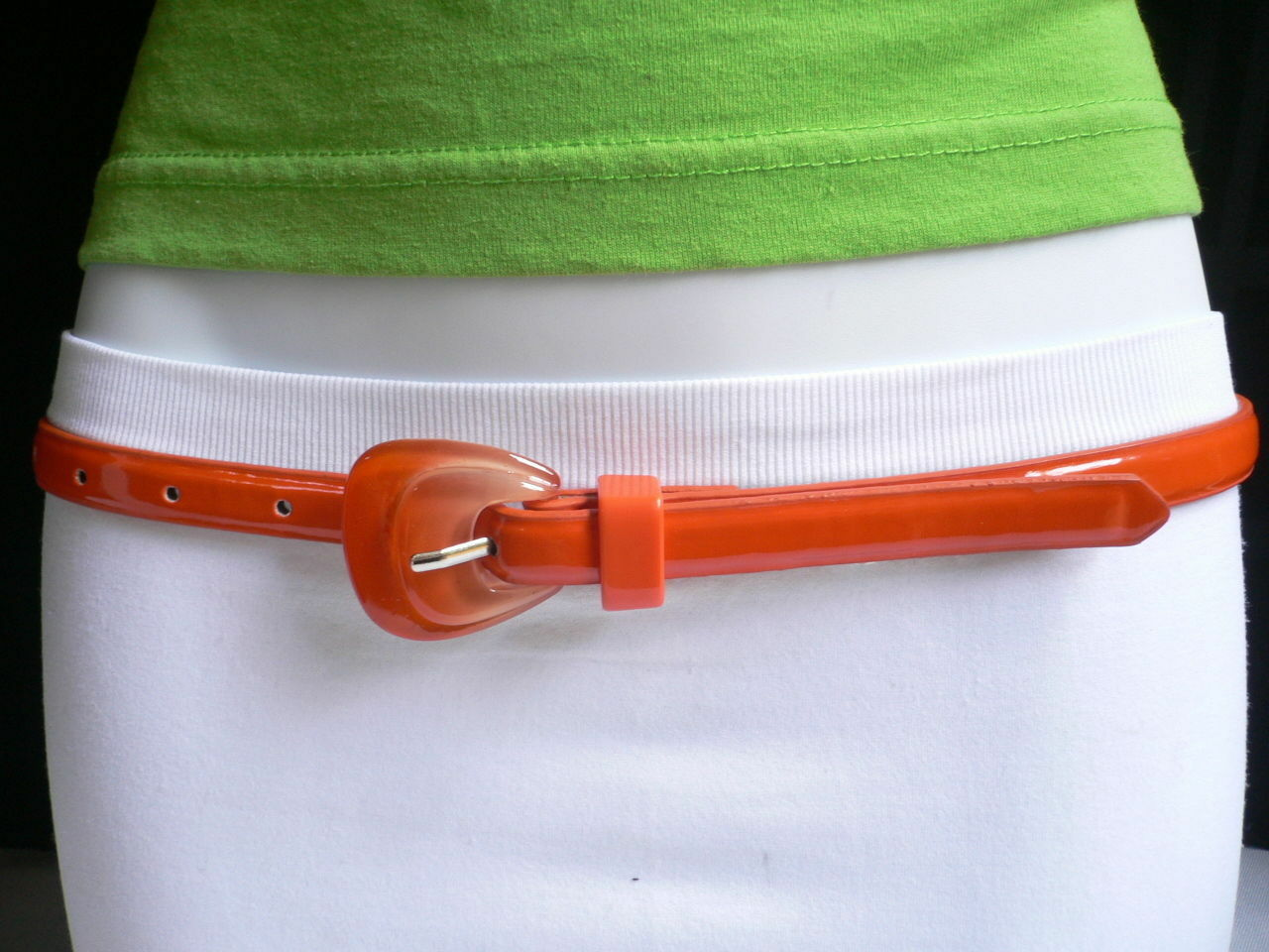Neu Damen Mode Gürtel Trendy Skinny Hell Orange Kunstleder Schnalle S M image 10
