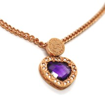 REBECCA BRONZE ROSE NECKLACE, GROUMETTE CHAIN, PURPLE CRYSTAL HEART, B14KRA24 image 2