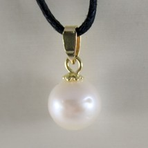 18K YELLOW GOLD PENDANT CHARM WITH ROUND AKOYA WHITE PEARL 8 MM, MADE IN ITALY image 1