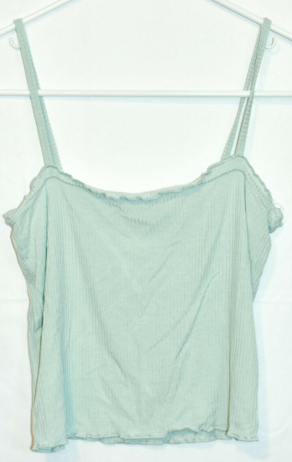 PS Basics Pacsun Women's Seafoam Green Ruffle Ribbed Knit Crop Tank Top Size S