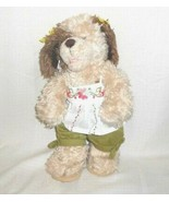Build A Bear Shaggy Dog Puppy Stuffed Plush Toy Animal Brown Tan Clothed... - $19.79