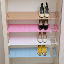 Closet Adjustable Shelf Organizer Wardrobe Space Saving Shelves Wall Mou... - £17.78 GBP+