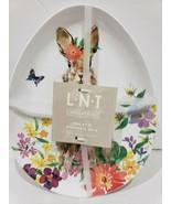L.N.T EASTER SPRING BUNNY RABBIT MELAMINE SALAD EGG SHAPE PLATES S/4 - $27.99