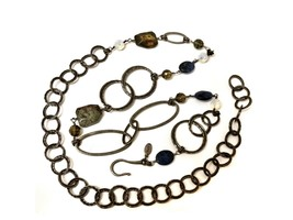 """Woman Chico's Link Chain Stone Beads Adjustable up to 46"""" Silver Dressy ... - $28.00"""